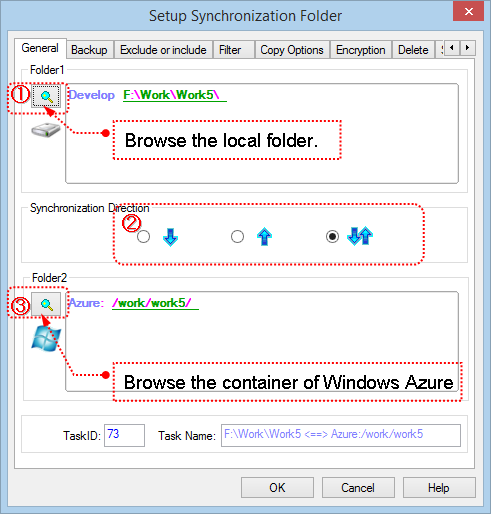 Setup Task to sync Windows Azure