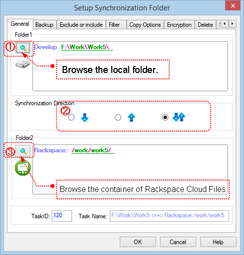 Setup Task to sync Rackspace Cloud Files