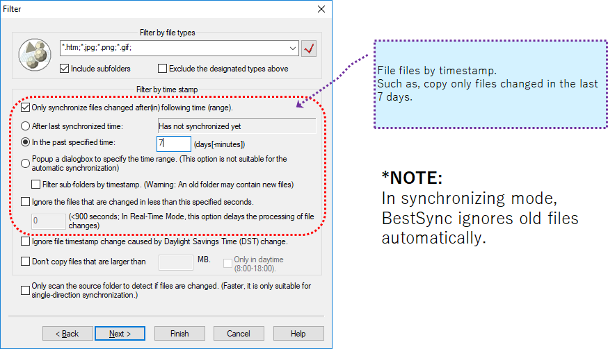 Filter files by timestamp
